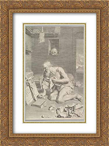 Saints Cell (Claude Mellan - 28x40 Gold Ornate Frame and Double Matted Museum Art Print - St. Jerome Praying in His Cell (Saint Jerome Penitent))