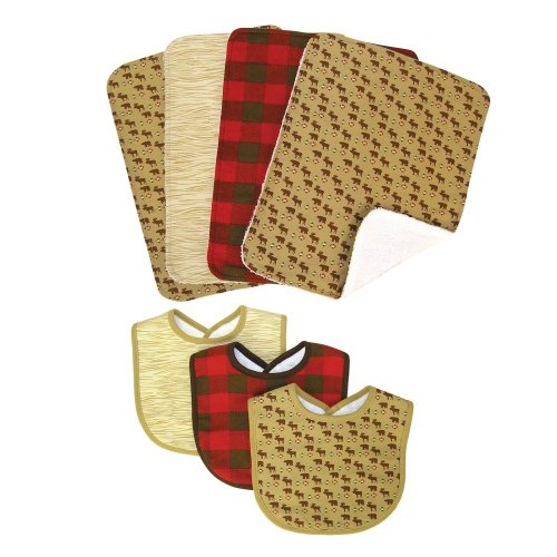 NORTHWOODS 3 PACK BIB AND 4 PACK BURP CLOTH SET - Bibs - 3-Pack Set: Northwoods Animal Scatter Print Percale With Tan Trim, Wood Grain Twill With Tan Trim, Check - Cradle Trim Bedding