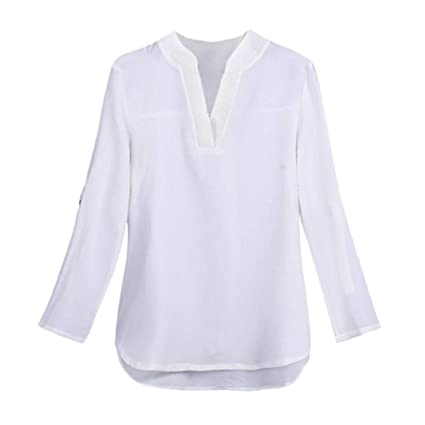 1a129feb77a Image Unavailable. Image not available for. Color  KFSO Women s V-Neck Long Sleeve  Plus Size Solid Loose Botton Blouse ...