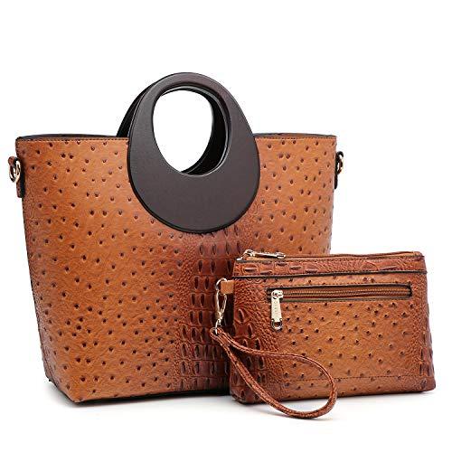 Women's Fashion Ostrich Handbag Chic Round Wooden Handle Shoulder Bag Tote Satchel Purse w/Wallet Brown