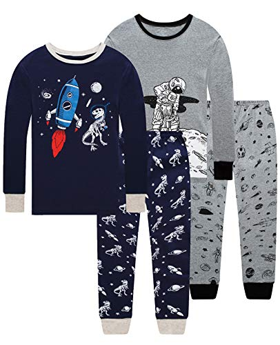 Dolphin&Fish Boys Pajamas 100% Cotton Long Sleeve Toddler Pjs Set Fire Dinosaurs Clothes Kids Pjs Sleepwear
