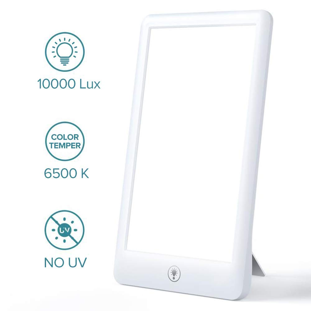 Light Therapy Lamp, Sakobs LED Therapy Light with UV-Free 10000 Lux Brightness, LED Therapy Box with 3 Adjustable Brightness Levels, Touch Control, Standing Bracket & Compact Size for a Happy Life