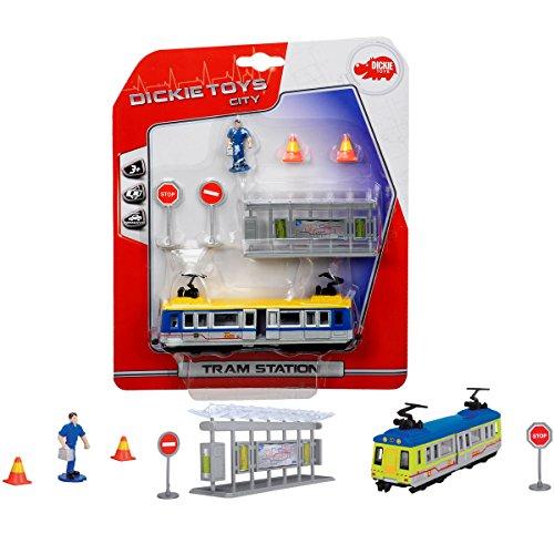 Straßenbahn Set mit Figur, Haltestelle, 2 Verkehrzeichen und 2 Pylonen: Station Spielfigur Spiel Straßen Bahn Kinder Spielzeug