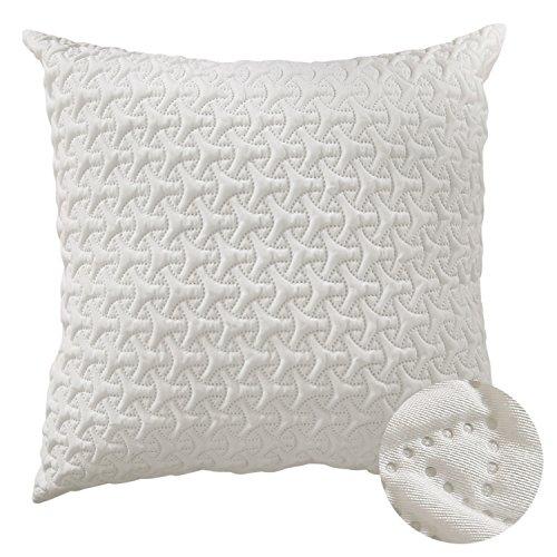 Deconovo Throw Cushion Cover Home Decorative Hand Made Pillow Case Microfiber Cushion Cover For Couch 18x18 Inch Beige - Handmade Decorative Pillow Covers