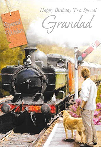 Special Grandad Birthday Card***STEAM Train Theme***1ST Class Post***AB5**