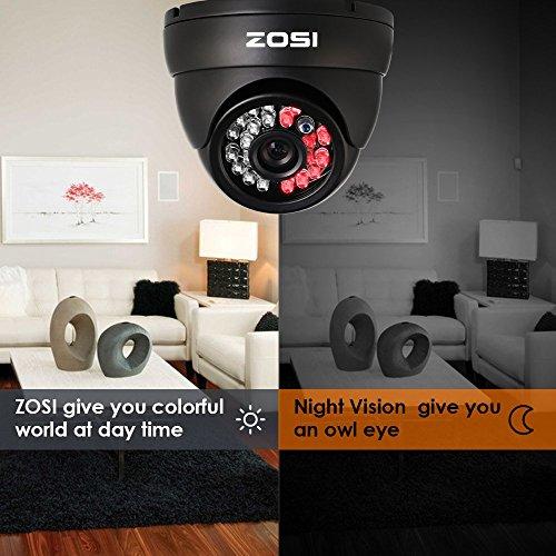 ZOSI 4 Pack 1080P Security Cameras 2.0MP Outdoor Indoor with 3.6mm 24PCS Infrared IR Lens Day Night CCTV IR Cut Surveillance Security Camera Black (Renewed)