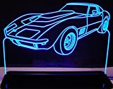 1969 Corvette Stingray Acrylic Lighted Edge Lit 12'' Reflective Black Mirror Base 15 LED Sign Light Up Plaque 69 VVD1 Made in the USA
