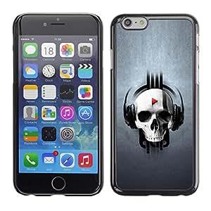 TopCaseStore / la caja del caucho duro de la cubierta de protección de la piel - Funny Skull Beat Player - Apple iPhone 6 Plus 5.5