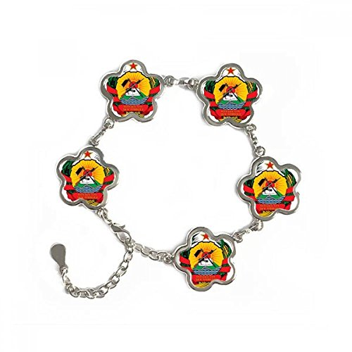 Mozambique Africa National Emblem Flower Shape Metal Bracelet Chain Gifts Jewelry With Chain Decoration by DIYthinker