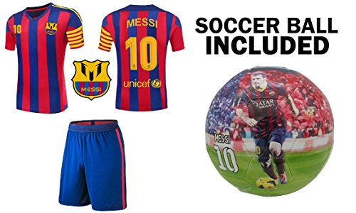 Lionel Messi #10 Soccer Jersey Youth - PREMIUM Messi Jersey Gift Set for Kids - Leo Messi Jersey + Shorts + MESSI BALL Size 5 Football Futbol Gift for Boys Girls (YM 8-10 years, Jersey+Ball)]()