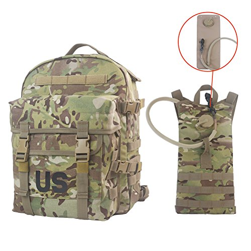 US Military MOLLE II Multicam Cordura 3 Day Assault Pack Tactical Backpack for Hunting Hiking and Hydration Carrier with 100 oz 3 L Bladder (100 Oz Hydration Carrier)