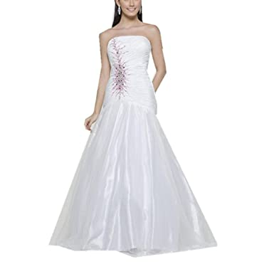 White Organza Sheath Beads Prom Dresses Evening Dresses US 8