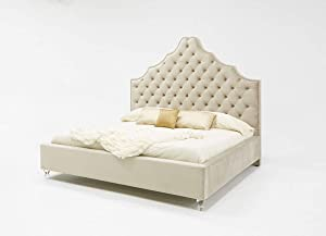 Limari Home Germano Collection Transitional Fabric Upholstered Bed with Tall Tufted Headboard With Nailhead Trim & Plastic Crystal Buttons & Clear Acrylic Legs, Queen, Light Grey