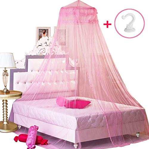 BCBYou Pink Princess Bed Canopy Netting Mosquito Net Round Lace Dome for Twin Full and Queen Size Beds Crib with Jumbo Swag Hook (Girls Princess Canopy Netting Bed)