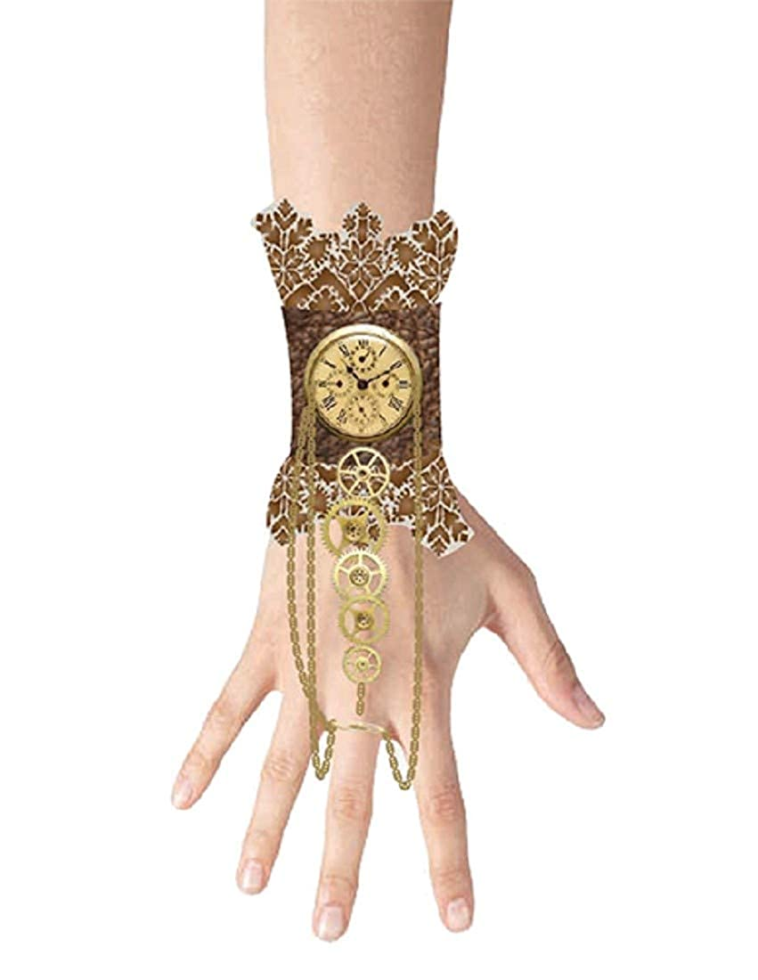 Steampunk Jewelry – Necklace, Earrings, Cuffs, Hair Clips Morris Costumes - Lace Wristlet Clock Charm Gear $8.75 AT vintagedancer.com
