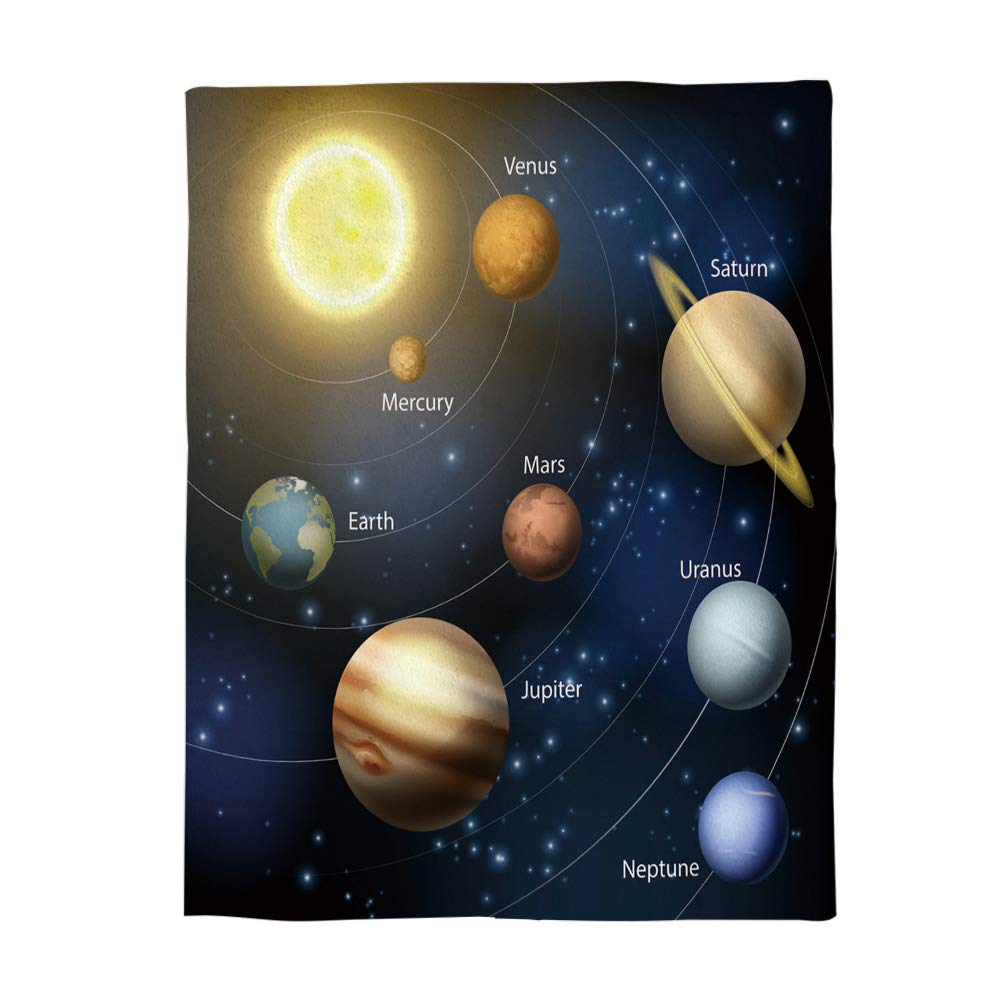 SIGOUYI Lightweight Flannel Fleece Throw Blankets Reversible Stadium Throws Cozy Plush Microfiber All-Season Blanket for Bed/Couch - Twin 50x60 Inch Solar System and Planet Orbits