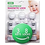 Nexpa Safety ChildProof Magnetic Cabinet Locks - 8 Locks+3 Keys+8 Key Bases - For Cupboard, Drawer, Etc, - New & Improved, Easy Installation & Completely Secure For Baby / Child Proofing - White
