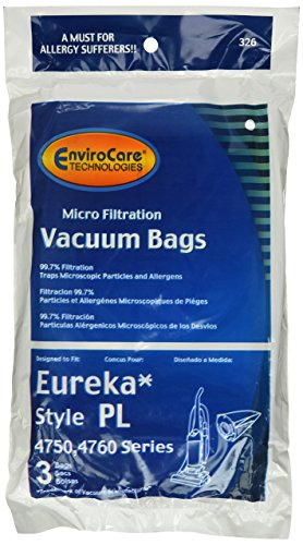 12 Eureka Electrolux Style PL Upright Vacuum Bags, Bagged Uprights, Maxima Vacuum Cleaners, 62389, 62389A, EU-62389, 62389-6, 62480, 62389-g3, 4750, 4750A, 4760, 4760AZ, by Generic