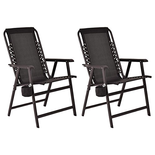 (Costway Set Of Two Folding Outdoor Arm Chair Steel Frame W/ Cup Holder Black)