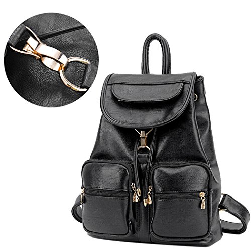 Retractable Casual Bag Backpack Black Shoulder Coofit Lady Schoolbag Leather Women qpY7nxgIt