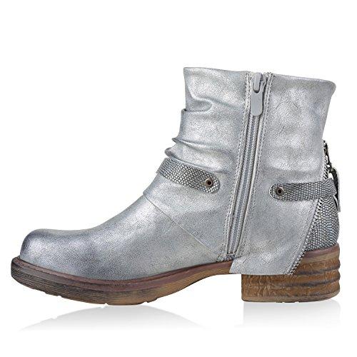 Stiefelparadies Damen Stiefeletten Biker Boots Schnallen Nieten Knöchelhohe Stiefel Leder-Optik Flandell Silber Reißverschluss