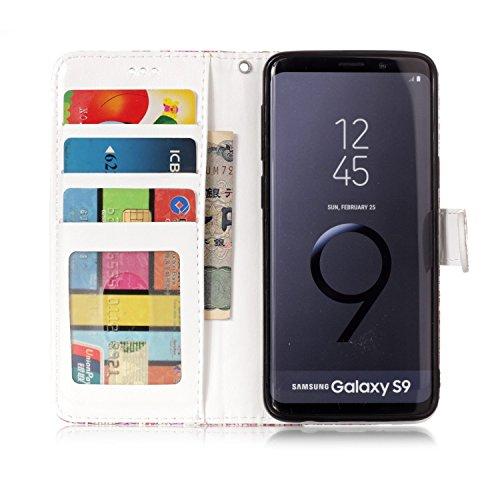Funda Samsung Galaxy S9 2018 , Sunroyal Cáscara Libro Suave PU Leather Cuero Bookstyle Wallet Cubierta Caja Cobertura Carcasa Impresión Tirón Plegar [Flip Cover Cierre Magnético Función de Soporte] [B Diseño 10