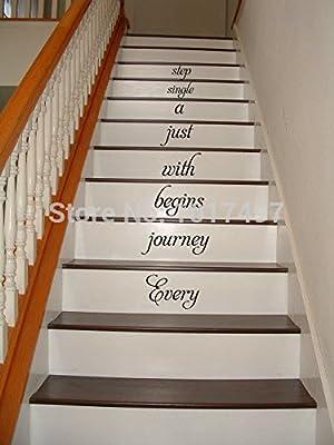 Casa Escaleras de vinilo – cada viaje comienza.. Escalera vinilo adhesivo para decoración del hogar pared letras palabras citas, C3101: Amazon.es: Hogar