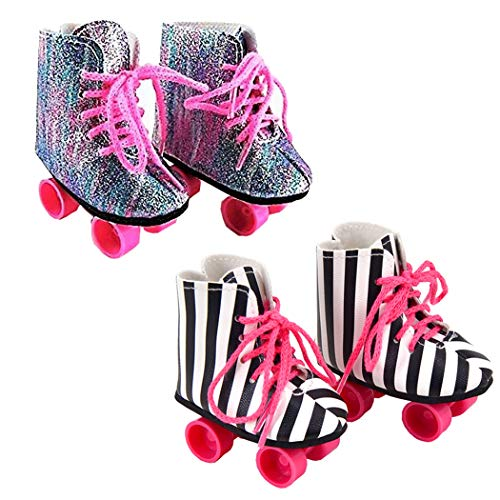 ebuddy 2 Pairs Rockin' Roller Skates for 18 inch Dolls Including Glitter Roller Skates and Zebra Roller Skates ()