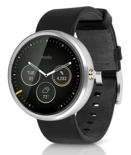 Motorola MOTO 360 2nd Gen 42mm Wi-Fi + Bluetooth Smartwatch - Silver Bezel - Black Case - Black Leather Band (Certified Refurbished)