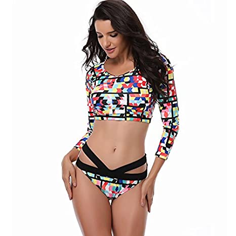 866d5a44fc7a4 Amazon.com: GOKKO Charm Plus Size Long Sleeve Swimwear Split High Waist  Swimsuit Bikini Beachwear (Color 3, XX-Large): Clothing