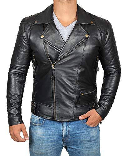 Leather Biker Jacket Mens | Black Frisco, XL ()