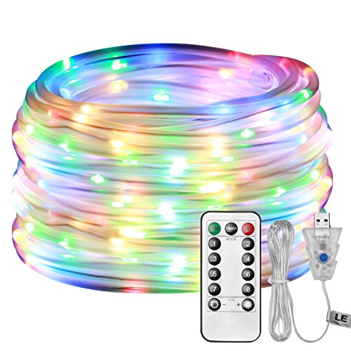 LE 33ft 100 LED Dimmable Rope Lights, USB Powered Waterproof Outdoor Rope lighting, 8 Lighting Modes/Timer, Multi Color Patio Lights Ideal for Patio Gardens Parties Wedding Holiday Decor, RGB Light by Lighting EVER