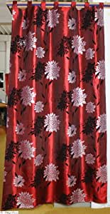 Damasco cortina cortina 250x 140Flock Flores Rojo