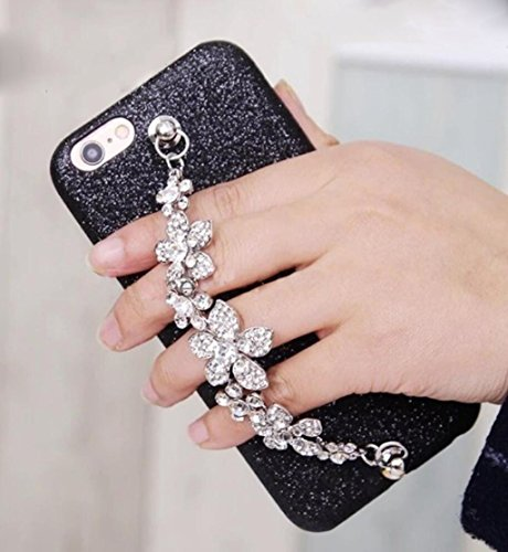 For iPhone6 Plus / iPhone6s Plus Case, Omio Shiny Diamond Flower Tassel Hand Chain Holder Bracelet Cover Glitter Luxury Bling Crystal Sparkle Rhinestone Shell For Apple iPhone 6 Plus / - Case Chain