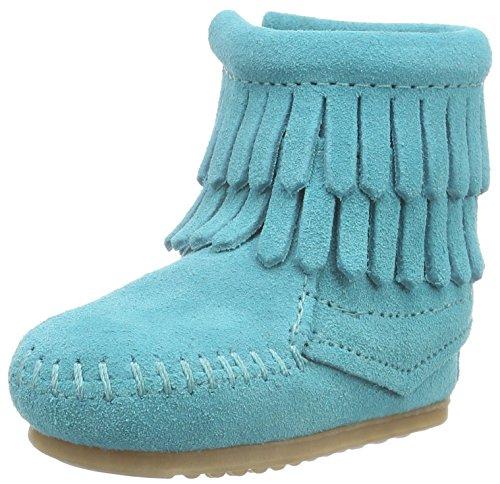 Minnetonka Kids Baby Girl's Double Fringe Bootie (Infant/Toddler) Turquoise Boot 1 Infant M