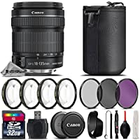 Canon 18-135mm IS STM Lens + 32GB Class 10 High Speed Memory Card + Macro Filtr Kit (+1,+2,+4 & + 10) + UV-CPL-FLD Filters + Card Reader + Neoprene Soft Lens Pouch - International Version