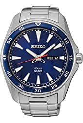Seiko SNE391 Men's Core Silver Bracelet Band Blue Dial Watch