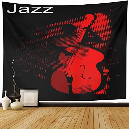 Ahawoso Tapestry Wall Hanging 60x50 Musician Music Jazz Bass Player Performancehalftone Pattern Band Texturevector Rockabilly Live Home Decor Tapestries Decorative Bedroom Living Room Dorm ()