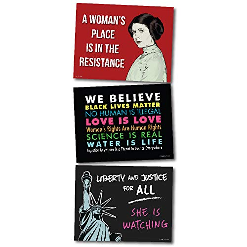 3 Posters or Protest Signs - We Believe, Princess Leia, Lady Liberty Card Stock Prints - Buy 1 Get 2 Free (3 Total) - 18