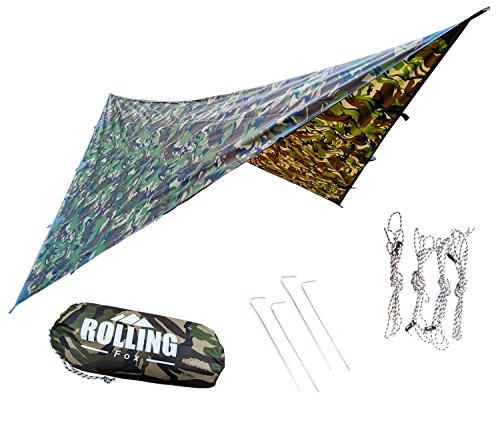 Ultralight Tarp (Rolling Fox Tarp Shelter Waterproof lightweight Hammock Camping and Survival Tarp Shelter (Camo, 360x280 cm))