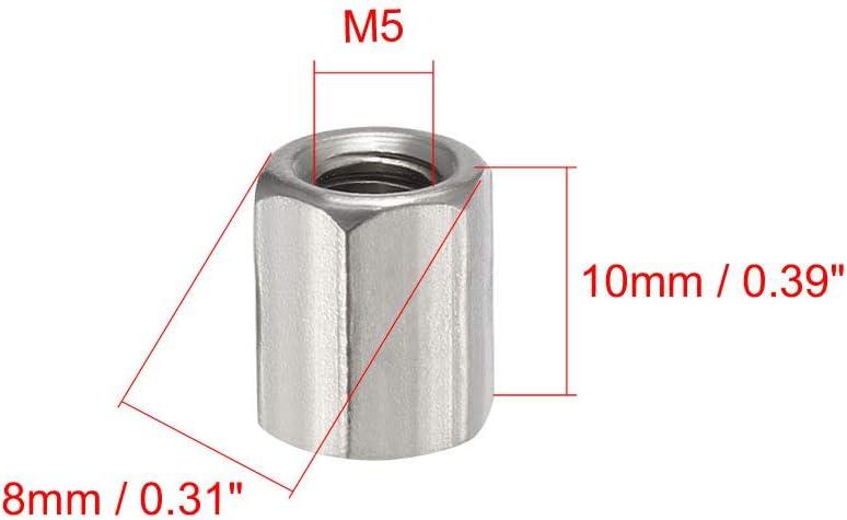 sourcing map 4er-Pack M5 X 0,8 10mm Edelstahl 304 metrische Sechskantmutter /Überwurfmutter de