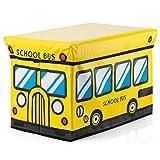kids playroom ideas Decor Hut Ottomon Storage Bench/seat, Folding Storage Cube with Cover Yellow School Bus Design Kids playroom Ideas (Yellow)