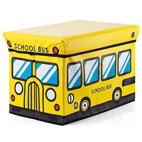 Decor Hut Ottomon Storage Bench/seat, Folding Storage Cube with Cover Yellow School Bus Design Kids playroom Ideas (Yellow)