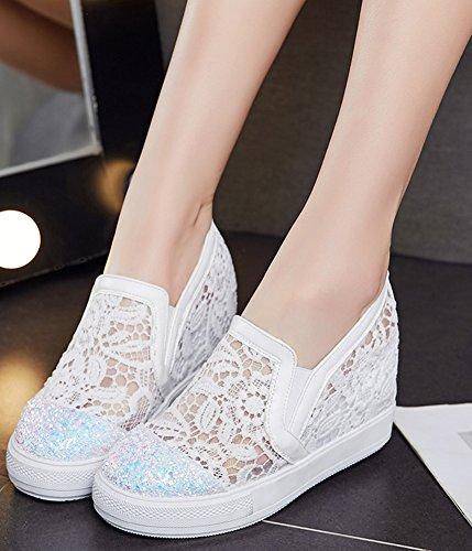 Idifu Womens Trendy Glitter Hoog Ingeklemd Hakken Binnen Ronde Neus Pull Op Sneakers Wit