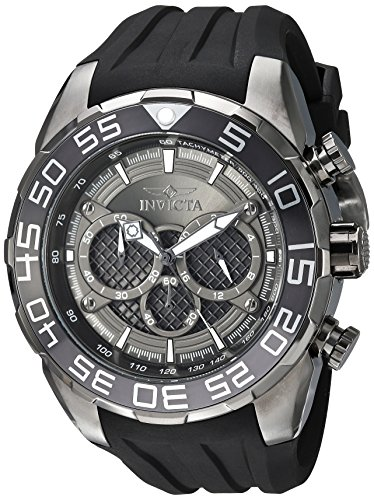 Invicta Men's Speedway Stainless Steel Quartz Watch with Silicone Strap, Black, 30 (Model: 26308)