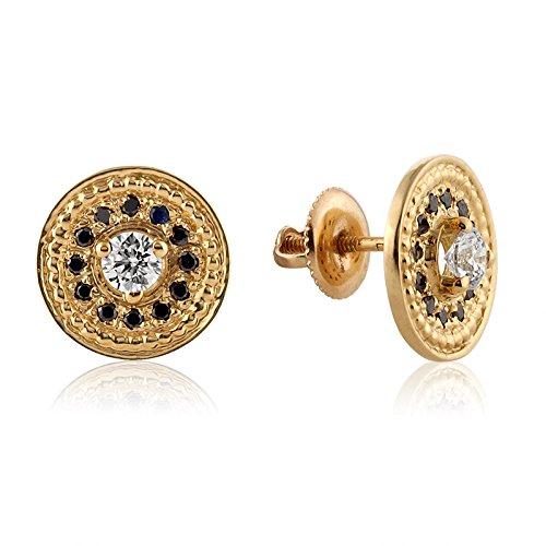 Date Designer Earrings (14K Gold Diamond Stud Earrings, Black Diamond Earrings, Diamond Studs, Round Stud Earrings, Gold Wedding Earrings, Diamond)
