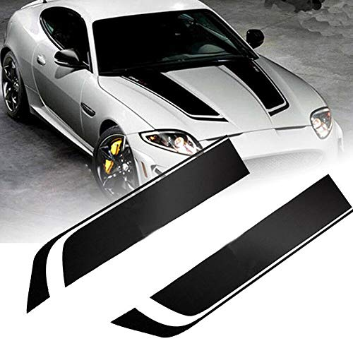 i-VIVIAN 2PACK 85CM Car Racing Dual Stripe Hood Decal PVC Vinyl Graphics Sticker (Hook Black)