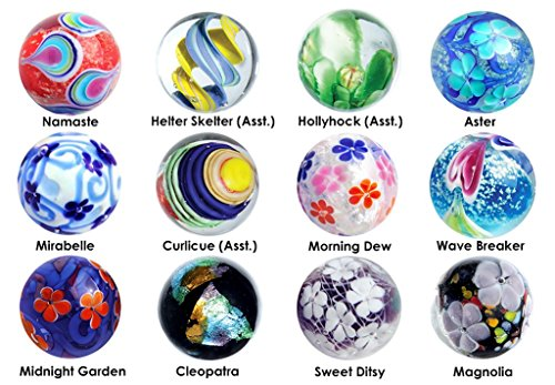 22mm Handmade Art Glass Marbles 2018 Collection w/Stands - Set of 12 by OnlineScienceMall (Image #5)
