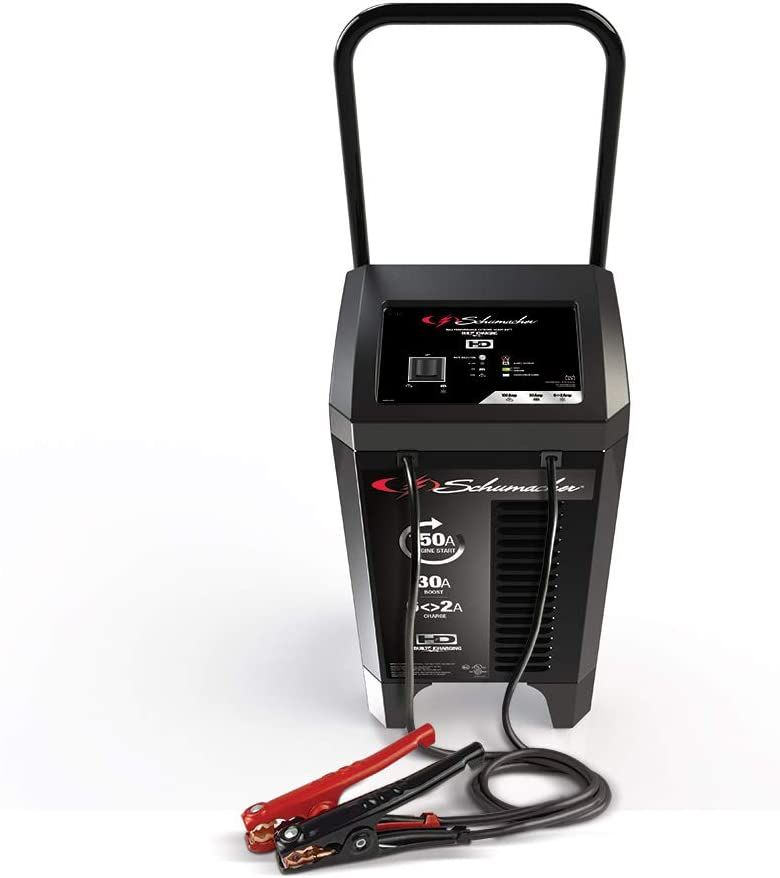 Schumacher SC1364 150 Amp 20 Amp 12V Fully Automatic Smart Battery Charger 150A Engine Starter 20A Boost Maintainer and Auto Desulfator Pre-Assembled Wheels For Cars, Trucks, SUVs, RV Batteries