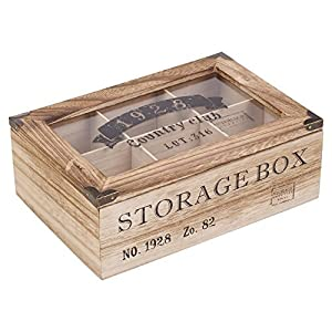 EG Homeware Wooden Tea Storage Box Glass Lid  Choice Of 6 Or 9  Compartements (6 Compartments)